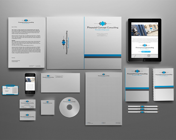 Corporate Identity Design Financial Concept Consulting